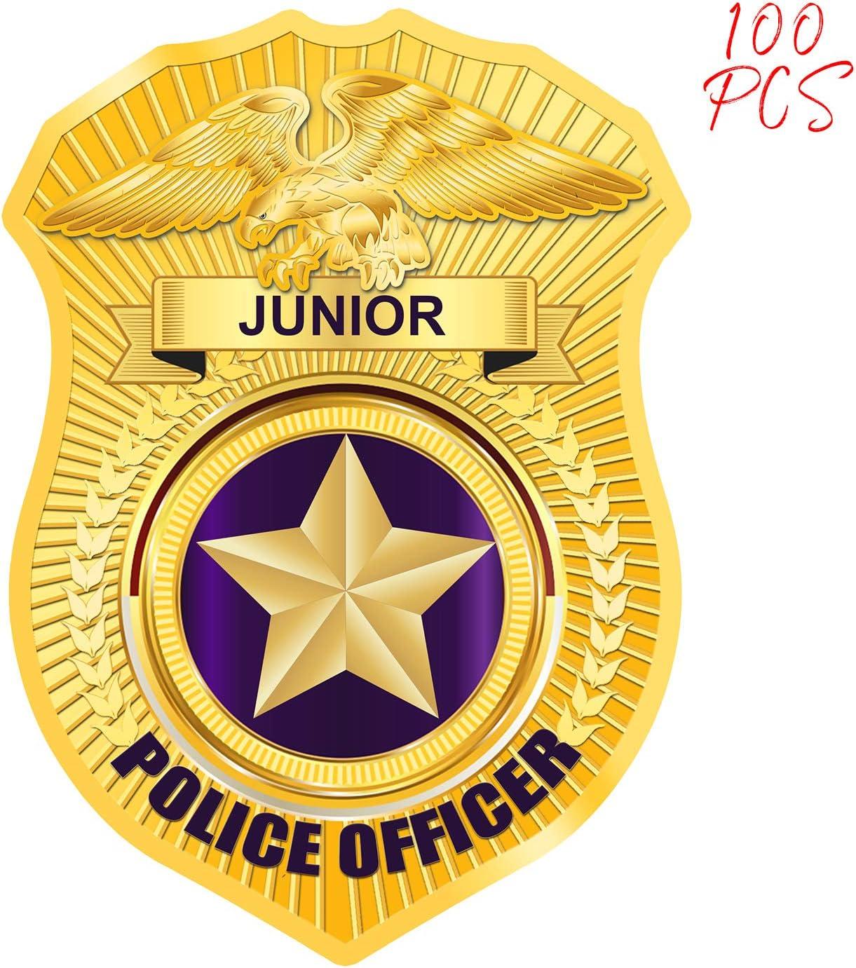 AKITSUMA - Pegatinas para insignia de oficial de policía junior, 100 unidades, para la educación escolar, eventos comunitarios, fiestas infantiles, desfiles y eventos de parque, US-AKI-30 (100 unidades): Amazon.es: Juguetes y juegos