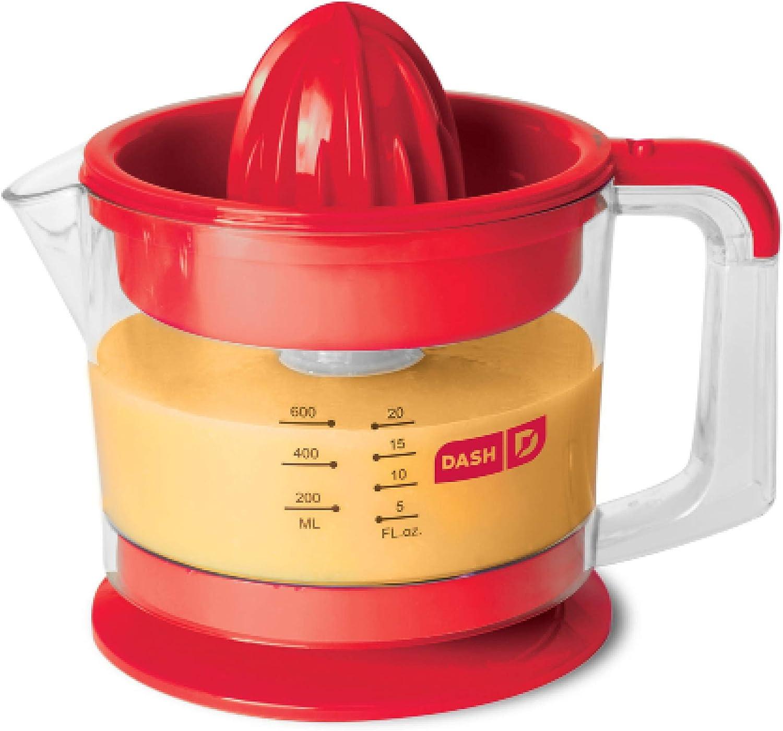 Dash Citrus Juicer Extractor Compact Juicer for Healthy Juice, Oranges, Lemons, Limes, Grapefruit other Citrus Fruit with Easy Pour Spout 32 oz Pitcher – Red