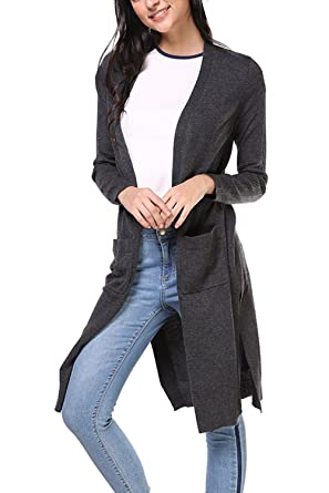 96a67d0c74c4ac Womens Split Cardigan Sweaters Knee Length Cardigan Coat Cable Knit Cardigan  Duster Coat