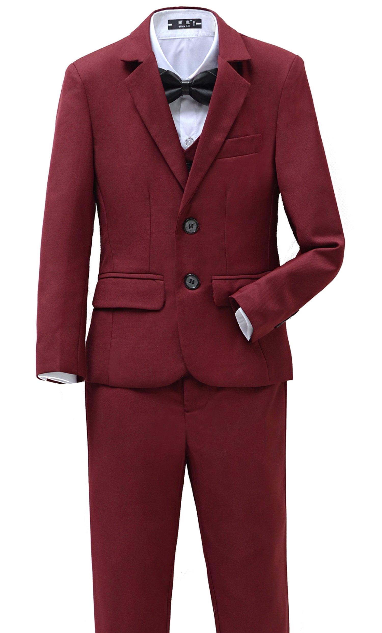 Yanlu Boys Suits Set 5 Piece Size 6 Burgundy Slim Fit Boy Suit