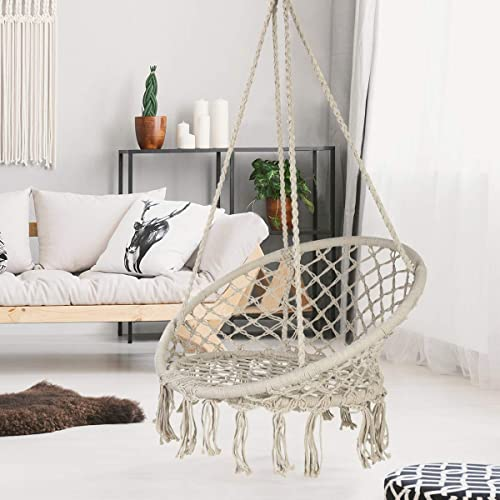 ASTEROUTDOOR Macrame Hammock Chair Cotton Rope Swing