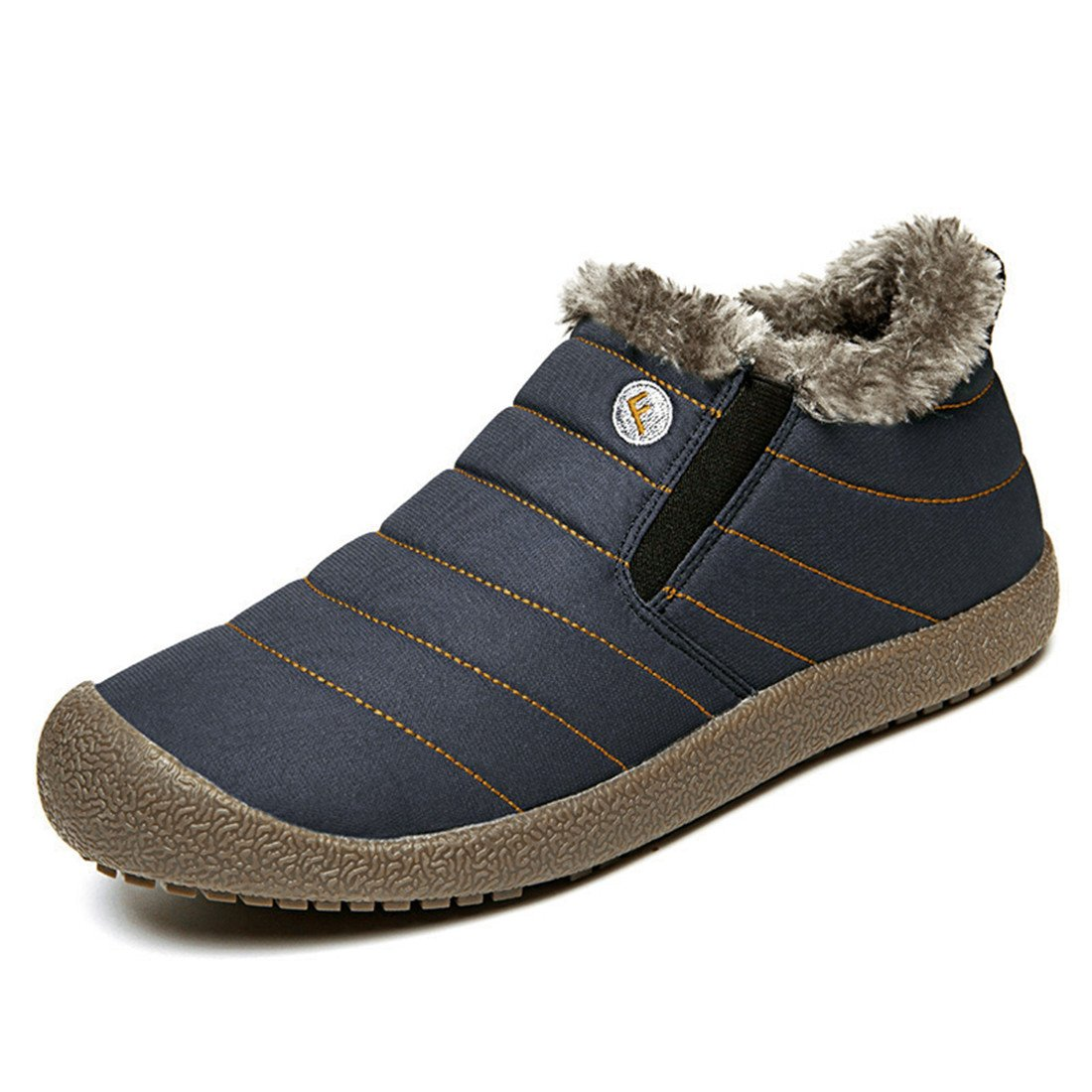 ChicWind Men Women Waterproof Snow Boots Fur Lined Winter Outdoor Slip On Shoes Navy Blue