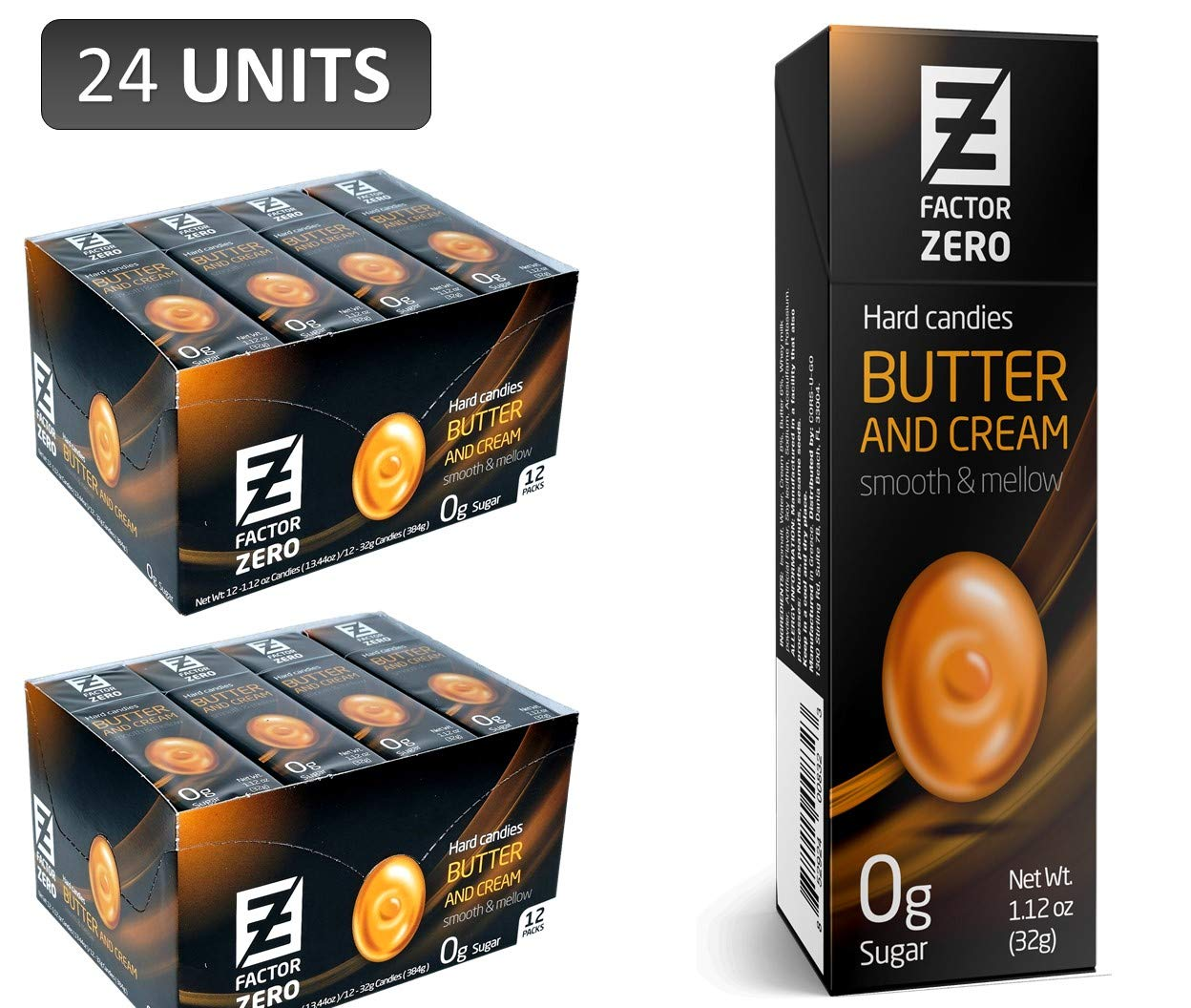 CDM product Sugar Free Hard Candy Factor Zero BUTTER & CREAM (24 Pack) Individually Packaged Gift Boxes Candies. FZ-HC-BUTT&CREA-24 big image