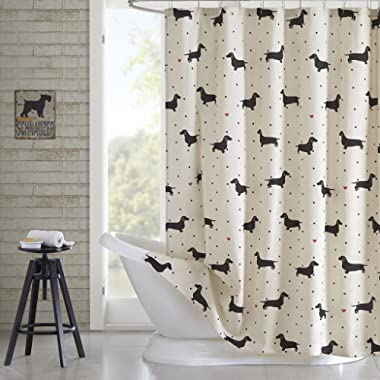 HipStyle HPS70-0004 Olivia Cotton Printed Shower Curtain 72x72 Natural