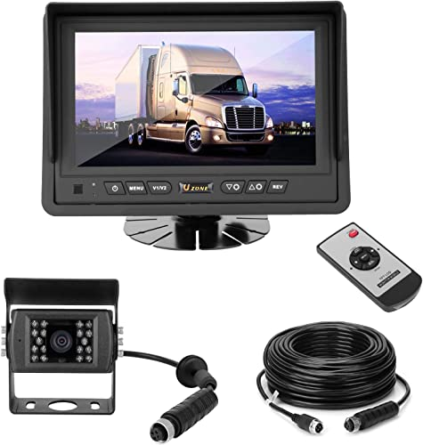 Uzone Backup Camera System 7inch Monitor with IP68 Waterproof Night Vision Camera for Car SUV RV Pickup Truck Trailer Easy Installation