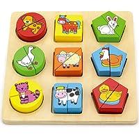 Viga - Gioco-puzzle con blocchetti in legno - animali della fattoria