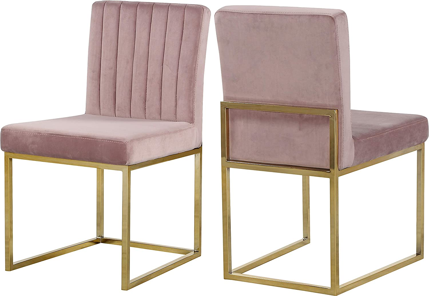 "Meridian Furniture Giselle Collection Modern | Contemporary Velvet Upholstered Dining Chair with Durable Metal Base, Set of 2, 18"" W x 22"" D x 32"" H, Pink"