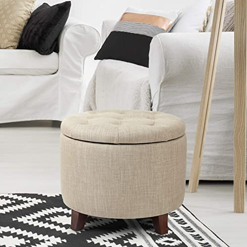 Edeco Round Storage Ottoman Tufted Fabric Footstool