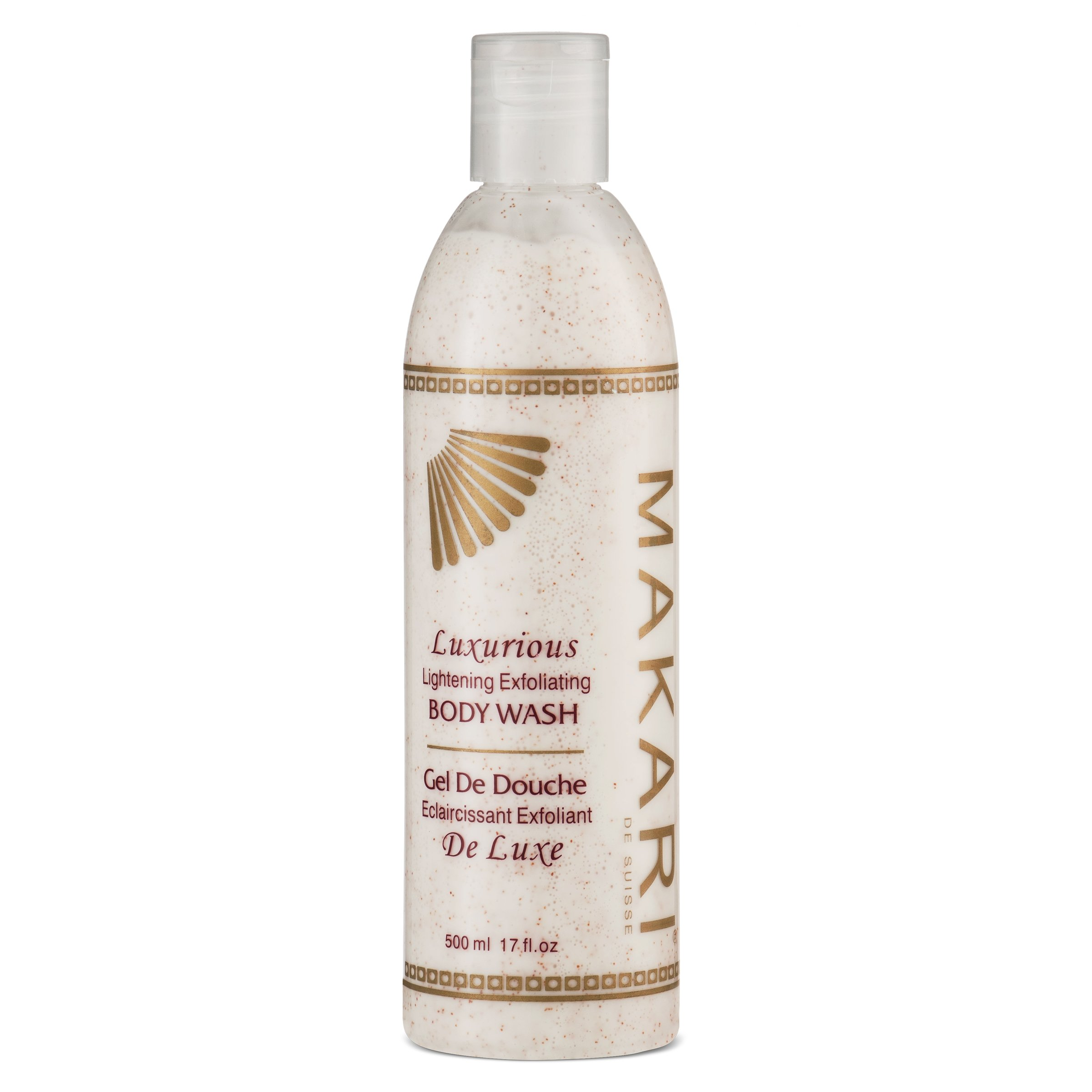 Makari Classic Luxurious Lightening Exfoliating Body Wash 17 fl.oz – Face & Body Cleanser With Mulberry Root Extract & Exfoliating Micro Crystals – Whitening Treatment for Dark Spots & Acne Scars