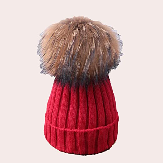 Image Unavailable. Image not available for. Color  Pompoms Fur Knitted Pom  Poms Skullies Beanies Thick Winter Hats Fluffy Ball Female ... 191e0de4203f