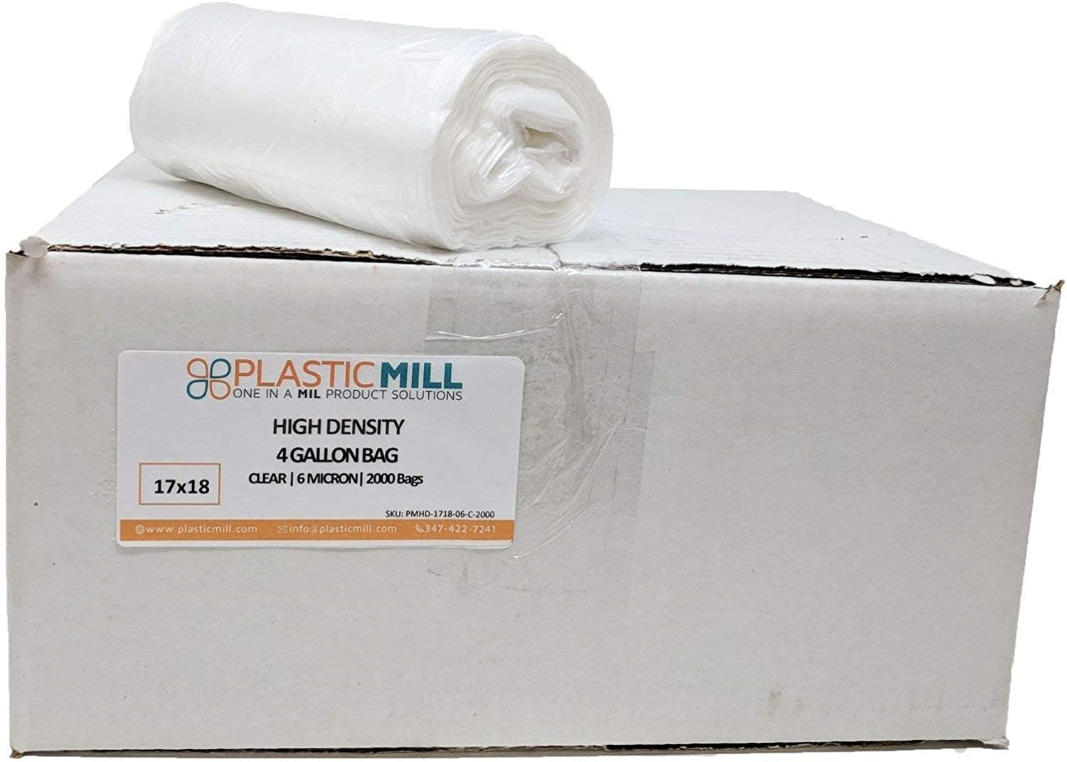 PlasticMill 4 Gallon Garbage Bags, High Density: Clear, 6 Micron, 17x18, 2000 Bags.