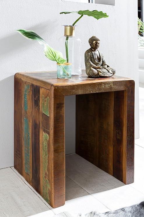Home Collection24 Mesa Auxiliar Delhi 45 x 40 x 55 cm Maciza de ...