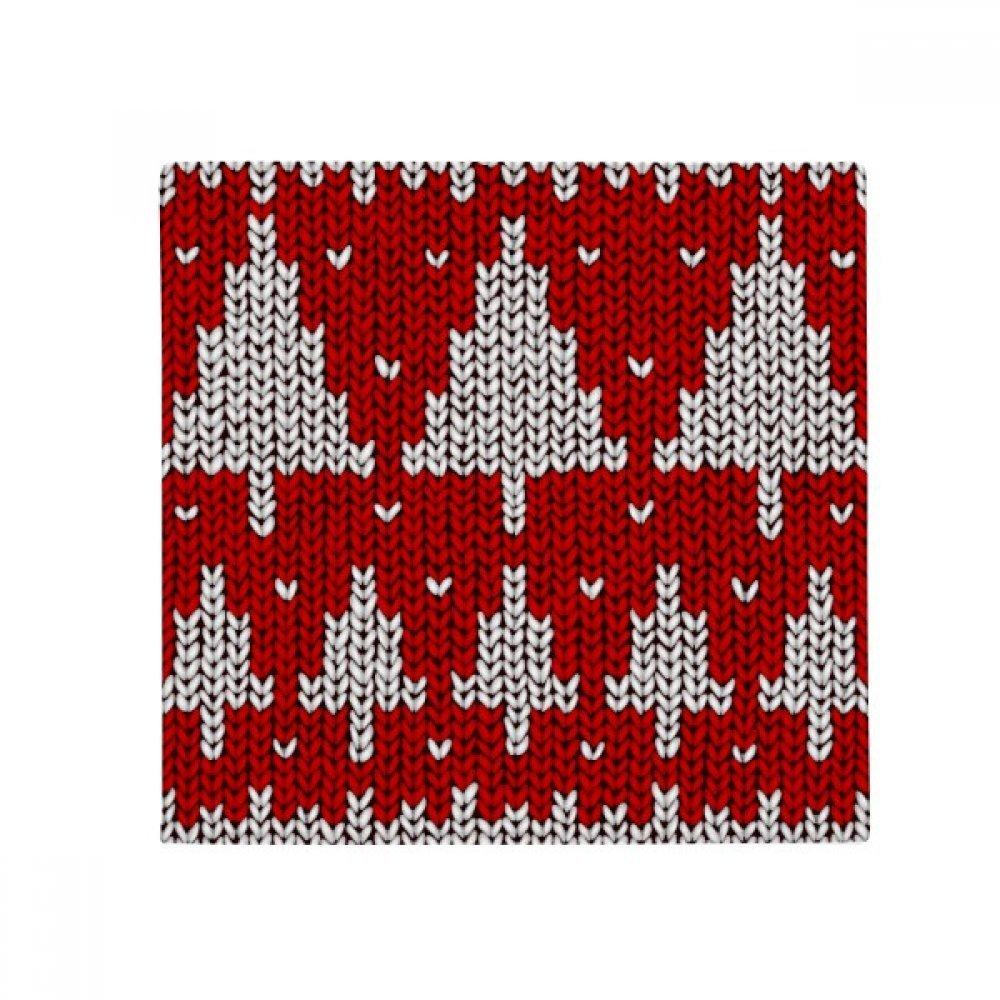 DIYthinker Red Tree Knit Nordic Illustration Pattern Anti-Slip Floor Pet Mat Square Home Kitchen Door 80Cm Gift