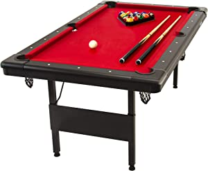 GoSports 6ft or 7ft Billiards Table - Portable Pool Table - Includes Full Set of Balls, 2 Cue Sticks, Chalk, and Felt Brush; Choose Your Size and Color