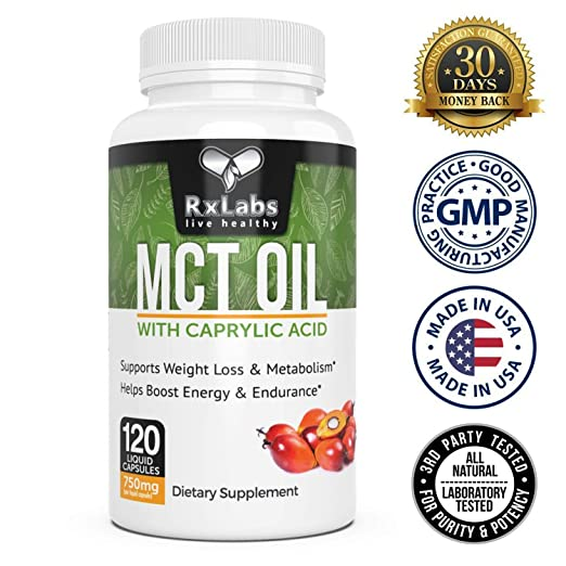 Amazon.com: rxlabs MCT aceite líquido softgels 750 mg 120 ...