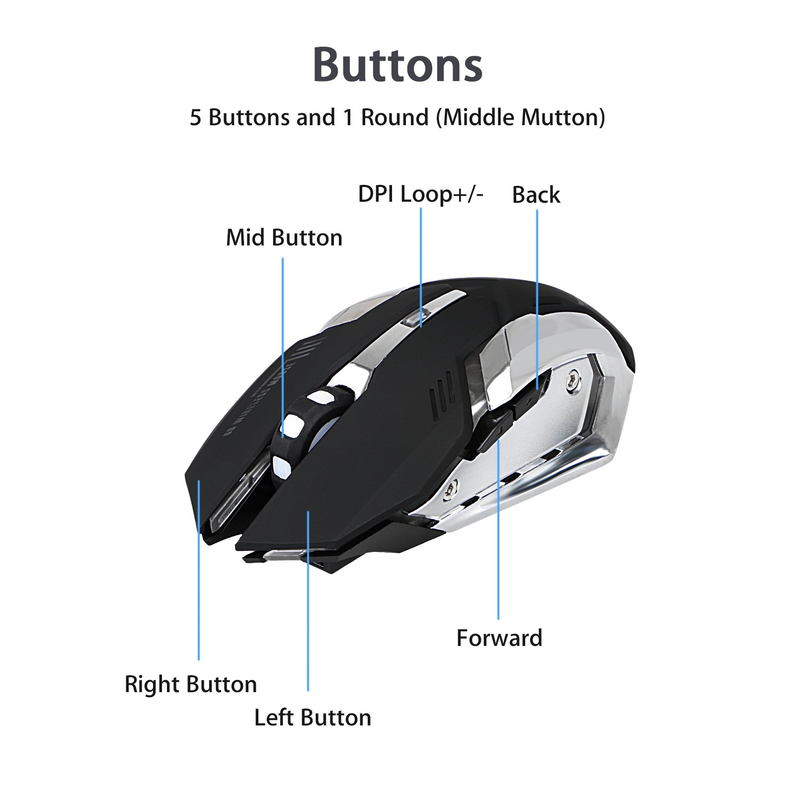 Wireless Optical Gaming Mouse with USB Receiver LinkStyle Color Changing Wireless Laptop Mouse, Rechargeable Game Mice with 4 Adjustable CPI Levels for PC, Laptop, Computer, Macbook & Gaming Players by LinkStyle (Image #3)