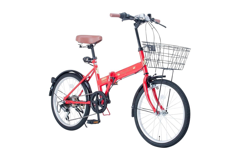 Raychell(レイチェル) 20インチ 折りたたみ 自転車 FB-206R シマノ6段変速 フロントLEDライト付 [メーカー保証1年] B075G64G6P レッド レッド