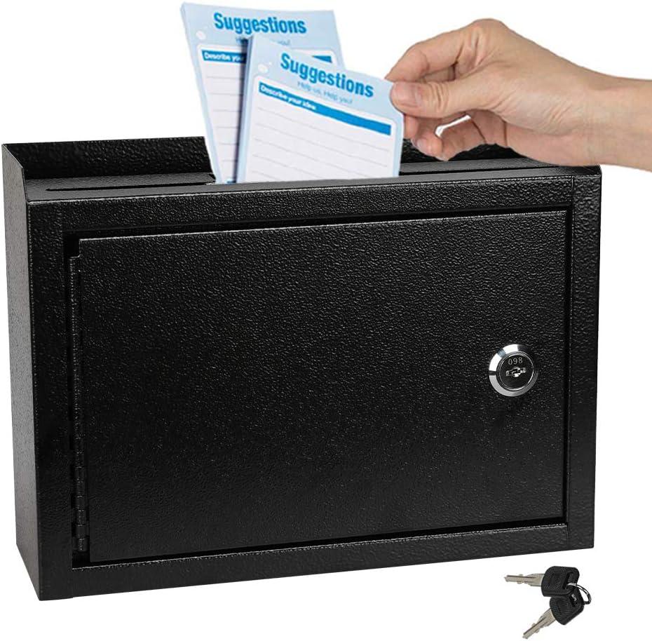 KYODOLED Suggestion Box wigh Lock,Locking Mailbox, Key Drop Box, Wall Mounted Mail Box,Safe Lock Box,Ballot Box,Donation Box 9.8