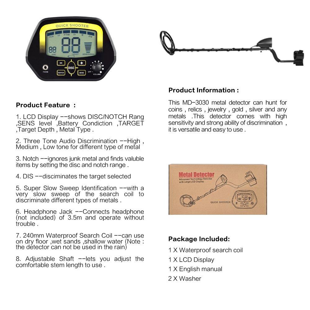 SHUOGOU Detector de Metales MD3030 Detectores Profesionales livianos Cazador de Tesoros Subterráneos Pantalla LCD Caza de oro y joyas en Aguas poco ...