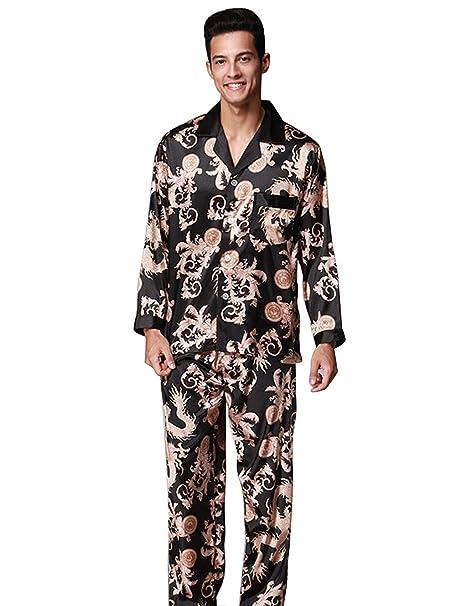 Menschwear Hombre Pajamas Set Serie Pijama Casual y Cómodo(Medium,Negro)