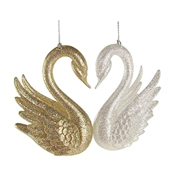 Homeford Glitter Glass Swan Christmas Ornaments, Gold/Silver, 4-Inch, 2 - Amazon.com: Homeford Glitter Glass Swan Christmas Ornaments, Gold