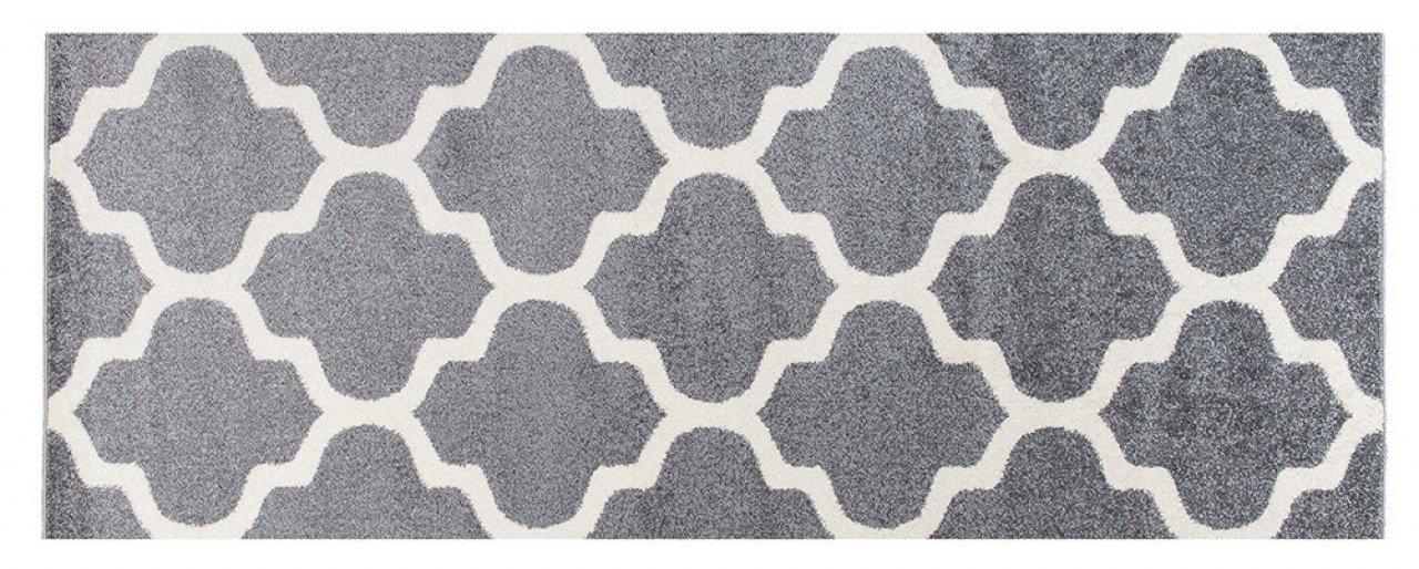 """b9a6179805 Kurzer Läufer-Teppich, schwarz-weiß,marokkanischer Trellis- Teppich """"Casablanca"""", trendiges Design, modernes Muster, ..."""
