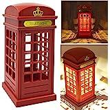 Abajur de cabine telefônica vintage de Londres luz noturna de carregamento USB LED abajur de mesa com luz ajustável para mesa