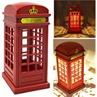 Abajur de cabine telefônica vintage de Londres luz noturna de carregamento USB LED abajur de mesa com luz ajustável para…