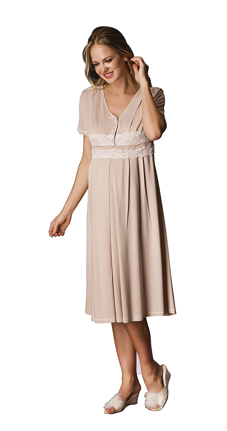 0267f5eff55c3 Bondy Maternity Pajamas 2-Piece Nightgown and Robe Set Lace Detail 17210  larger image