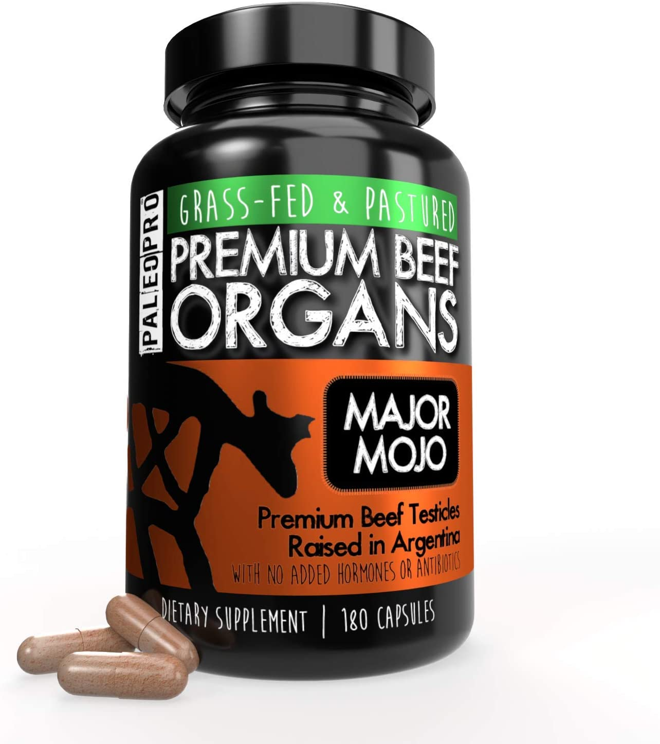Paleo Pro Major Mojo Premium Beef Organs Capsules, Beef Testicles from Grass Fed and Pastured Argentinian Cows, Dietary Supplement, No Added Hormones or Antibiotics, 180 Capsules