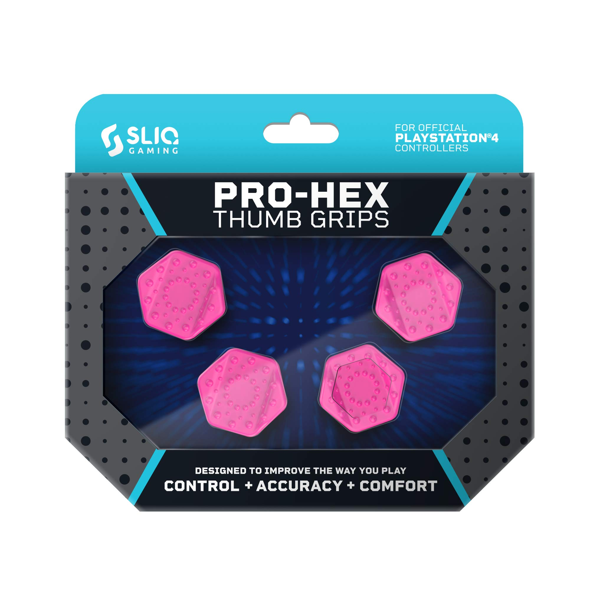 Sliq Gaming PS4 Pro-Hex Thumb Stick Grips - PlayStation 4 - Pink by Sliq Gaming