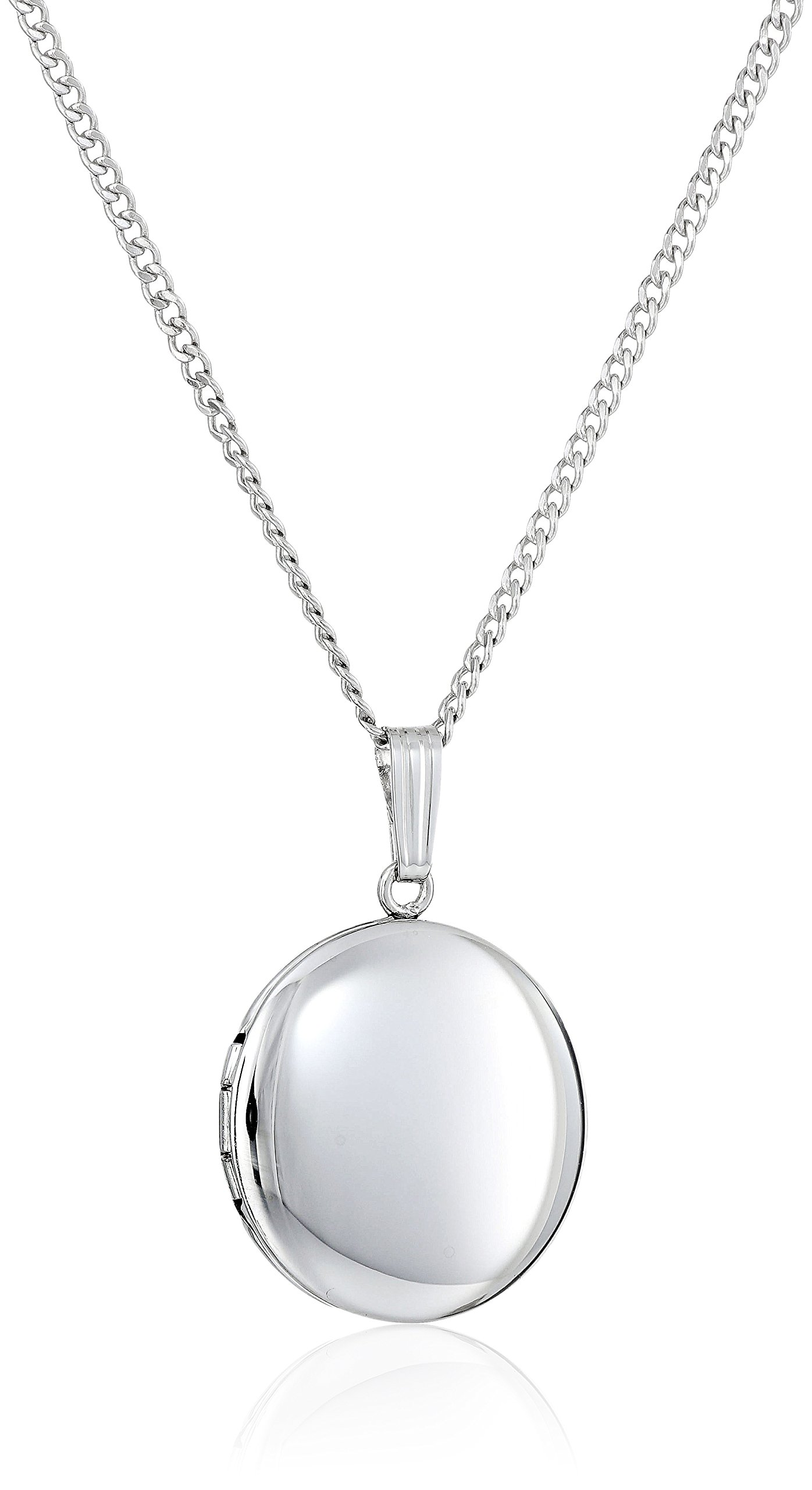 Sterling Silver Polished Round Locket Necklace, 18''