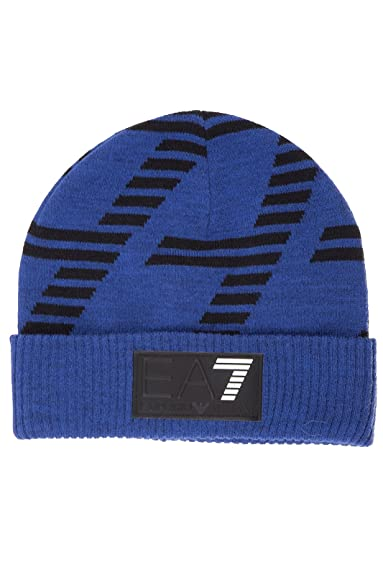 Emporio Armani EA7 men s beanie hat train graphic blu UK size M 275643  6A725 10433 23cc84bef7f