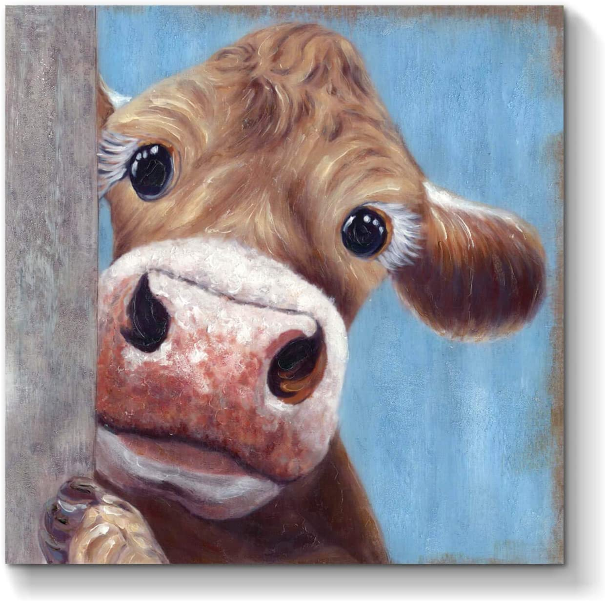 Animal Canvas Art Wall: Cow Artwork Picture Painting on Canvas for Home Decor (24'' x 24'' x 1 Panel)