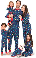 PajamaGram Christmas Lights Matching Family Pajama Set, Blue
