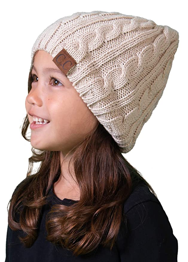 125f7993fdce6 Funky Junque H-6031a-60 - Girls Cable Knit Beanie - Beige at Amazon Women s  Clothing store