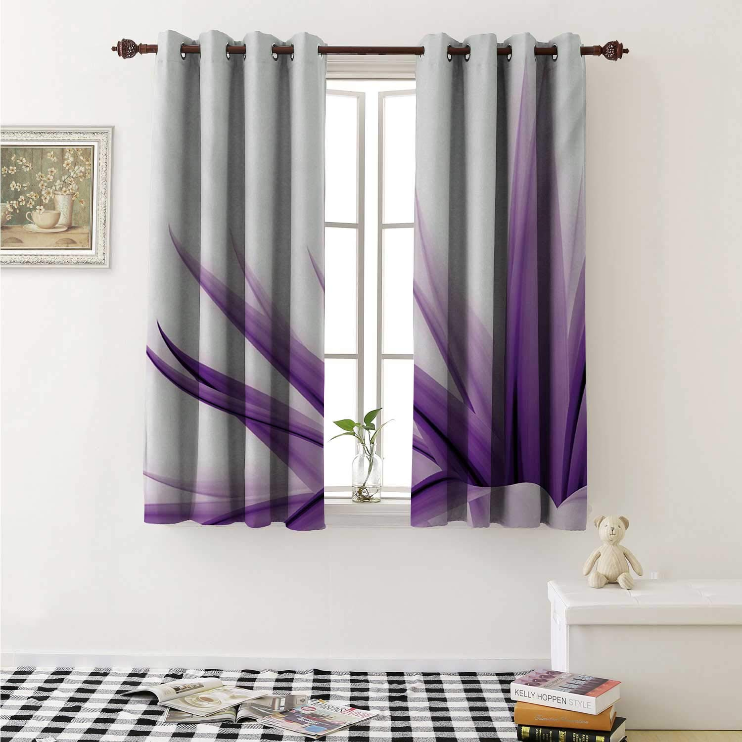 shenglv Flower Window Curtain Fabric Purple Ombre Style Long Leaves Water Colored Print with Calming Details Image Curtains and Drapes for Living Room W55 x L63 Inch Purple and White by shenglv