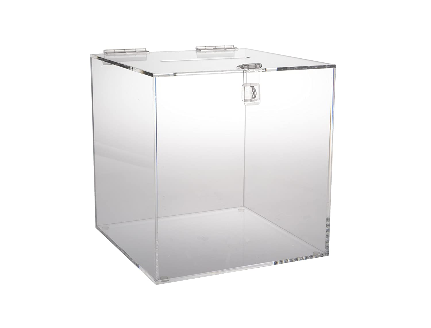 Amazoncom 12 Inch Clear Acrylic Ballot Box Cube With Hinged Lid