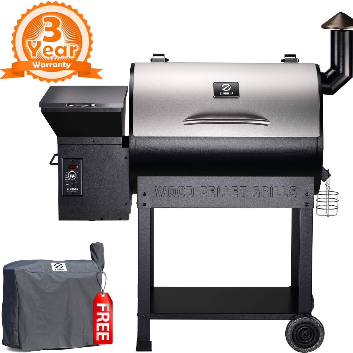 Z GRILLS ZPG-7002E 2019 New Model Wood Pellet Grill & Smoker, 8 in 1 BBQ Grill Auto Temperature Control, 700 sq inch Cooking Area, Silver Cover Included by Z GRILLS