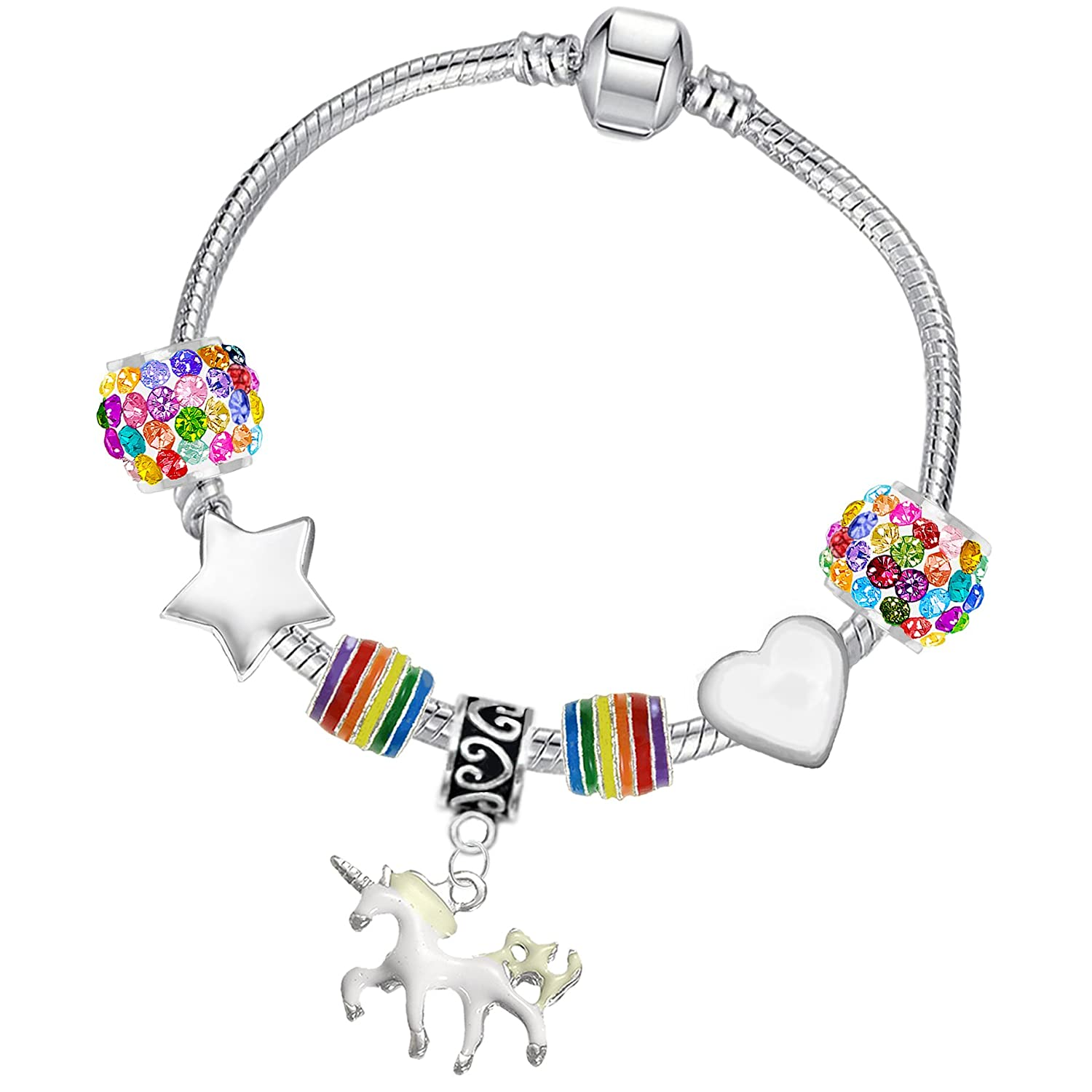 Girl's Rainbow Crystal Unicorn Silver Charm Bracelet and Card Gift Set Charm Buddy ®