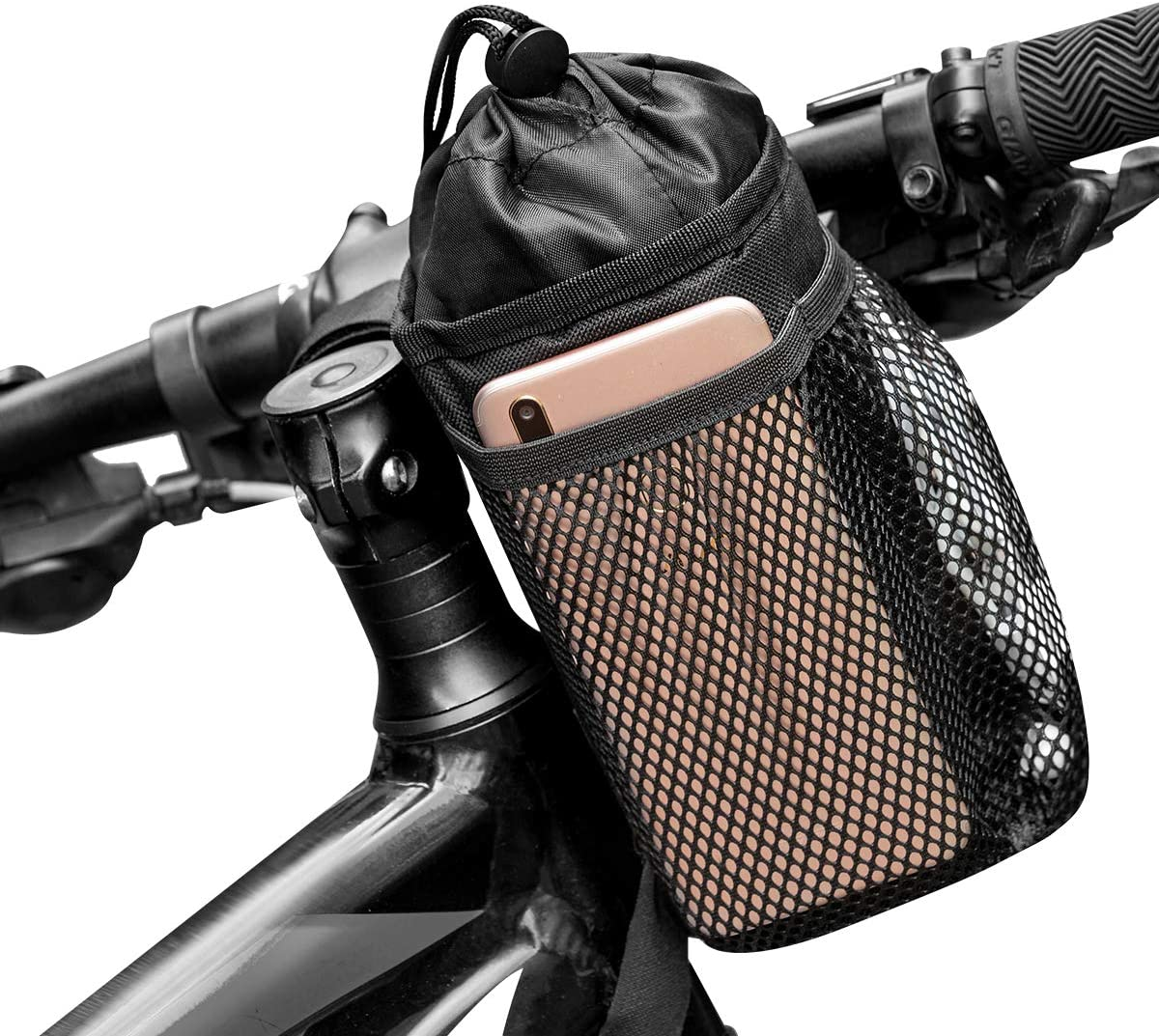 Caudblor Bike Water Bottle Holder Bag for Kid Adult, Insulated Bicycle Coffee Cup Holders with Phone Storage, Black Handlebar Drink/Beverage Container for Walker/Cruiser/Exercise/Mountain Bike