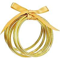 5 Pack Glitter Filled Bangles- Soft Glitter Silicone Bracelet Sparkling Fashion Bangles