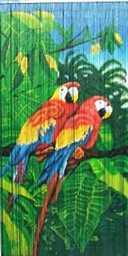 Master Garden Products MGP Tropical Parrot Print Beaded Bamboo Curtain