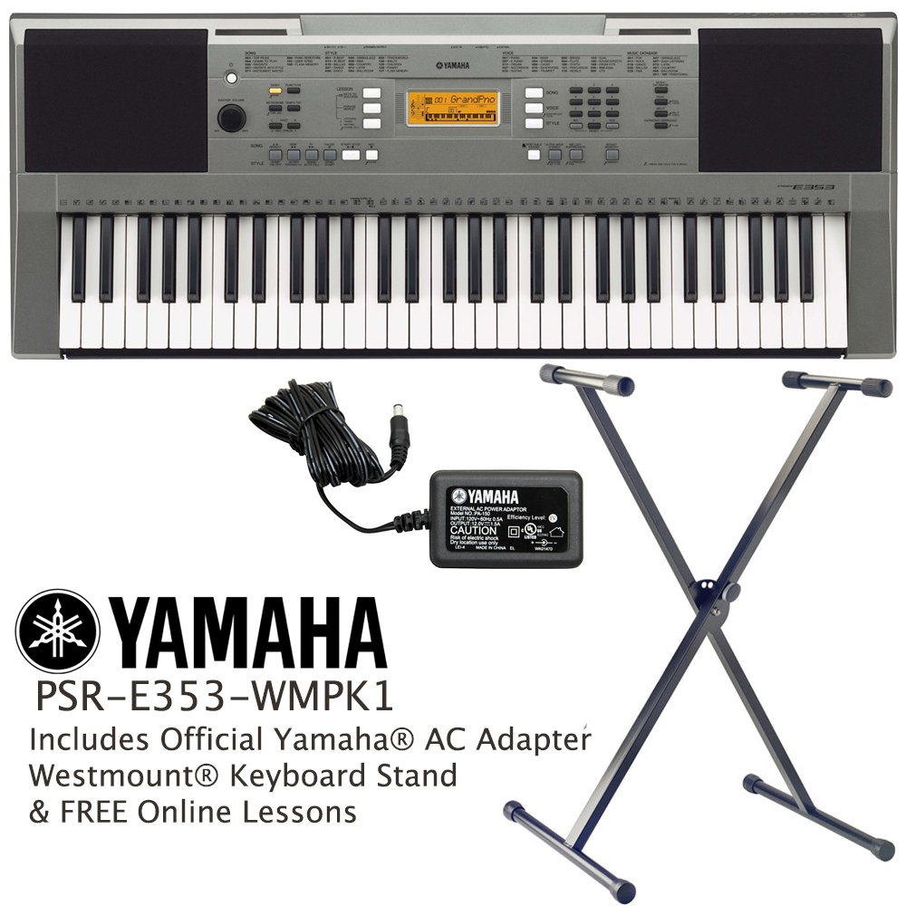 Yamaha Psr E353 Keyboard Including Official Adapter Westmount Stand And Free Online Lessons Musical Instruments