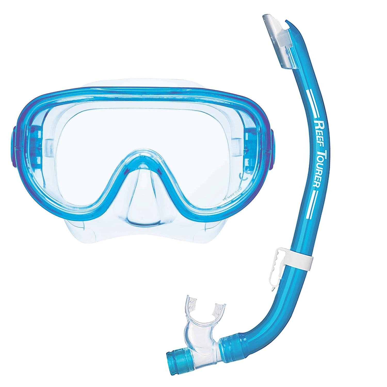 REEF TOURER Mask & Snorkel Combo, Clear Blue