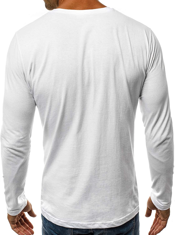 OZONEE Herren Langarmshirt Longsleeve Sweatshirt T-Shirt Slim Fit Sport Langarm Top Rundhals-Ausschnitt Regular Round Neck Long Sleeve U-Neck Sweats Langarmhemd O//1209