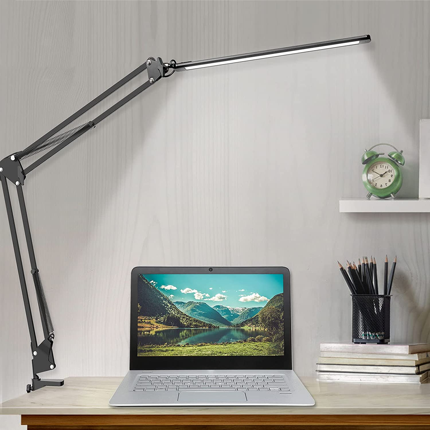LED Desk Lamp, Adjustable Swing Arm Desk Lamp with Clamp, Dimmable Desk Light Eye-Care Table Light, Memory Function, 3 Color Modes, 10-Level Brightness Table Lamp for Home, Office, Study, Reading