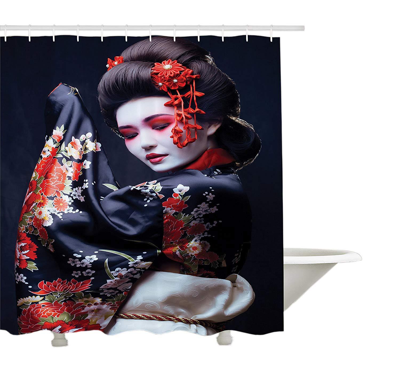 Yeuss Japón Cortina de Ducha, Joven Bonita Geisha Kimono con ...