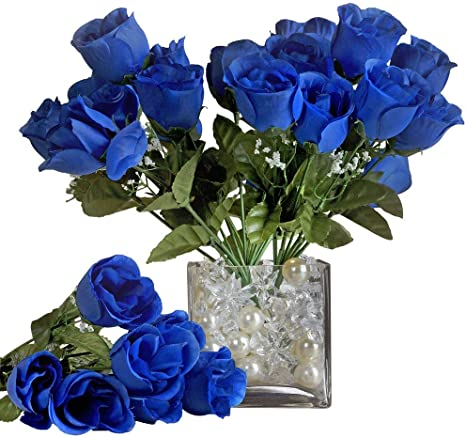 84 Royal Blue SILK ROSE BUDS Wedding Party Flowers Bouquets Decorations on SALE
