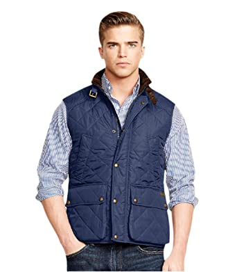 Polo Ralph Lauren Mens Quilted Hunting Cargo Vest Jacket Navy Blue